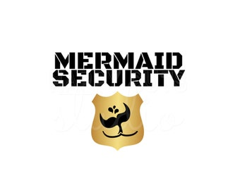 Mermaid Security Badge for Boys Men Matching Family Dad Brother Son Cruise Beach Vacation Iron On Decal Vinyl for Shirt/Fish Extender 135