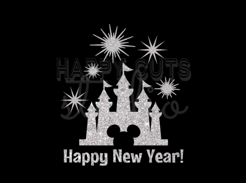 Disney Happy New Year Castle in Silver Glitter Vinyl Mickey