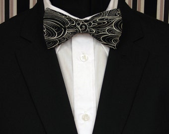 Black Bow Tie, Black Bowtie, Mens Bow Tie, Mens Bowtie, Black White Bow Tie, Bride, Wedding, Prom, Father, Day, Dad, Gift, Birthday, Man