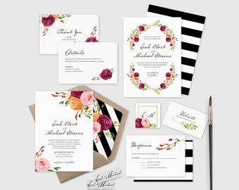 Build Your Own Burgundy Invitation Suite, Burgundy Wedding Invite, DIY  Invitation Suite, Wedding
