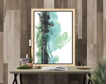 Large Wall Art Print, Green Teal Wall Art Abstract Art, Modern Teal Printable Art, Bedroom Office Bathroom Wall Art, Abstract Coastal Art