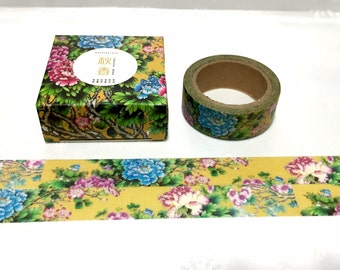 Chinese flower washi tape 7M Peony China rose blue flower pink flower Masking tape golden yellow sticker tape flower scenes landscape decor
