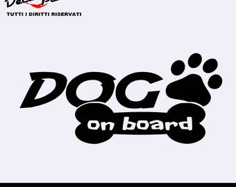 Dog on board vinyl sticker, customization options