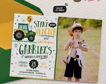 Tractor Birthday Party Photo invitations Farmer Birthday Party printable invitations  Watercolors birthday invitations
