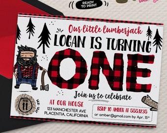 Doodly Lumberjack First Birthday invitation DIY Woods Woodland printable Birthday invite Lumberjack party invitation doodle