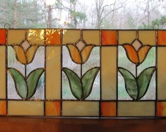 Stained Glass, Transom Window, Tulips, Spring, Orange, Peach, Cream, Handmade, Window Panel, Art Glass
