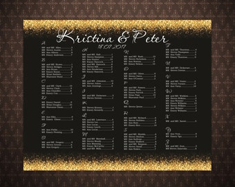 Wedding Seating Chart Template, Black and Gold Seating Chart Poster DIY, Wedding Signs, code-024-1
