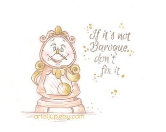Beauty and the Beast Cogsworth art print, home decor, poster