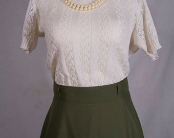 70's knit white sweater