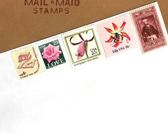 Pretty Pinks || Set of unused vintage postage to mail 5 2 oz letters