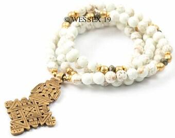 Ethiopian Cross Necklace | Neutral Necklace | Coptic Cross Necklace | Boho Necklace | Bohemian Necklace | Tribal Necklace | African Necklace