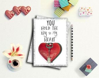 Romantic valentines card, Romantic Card, Card for Boyfriend, Card for Girlfriend, printable valentine card, love print, heart print card