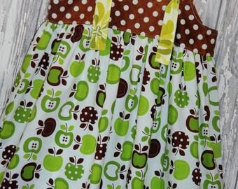SALE 50% off, Girls Dress, Knot Dress, Spring Dress, Country Dress, Size 5/6 dress, Ready to ship