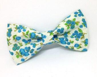 Blue Floral Bowtie, Vintage Bowtie, Floral Bowtie, Wedding Bowtie, Adult Bowtie