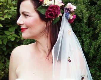 Bridal Flower Crown, Flower Veil and Corsage