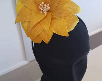Yellow flower side fascinator / headband / headpiece ideal for the races, a wedding or party