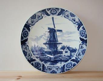 Wall plate Dutch blue /Wall Plaque / Delfts blue / Windmill