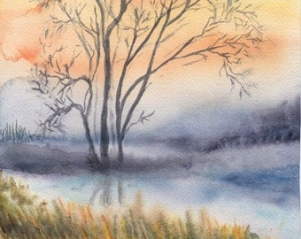 Misty Pond at Sunset, Watercolour Painting, Original Artwork