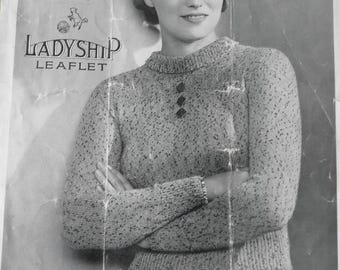 1930's womens jumper knitting pattern, Ladyship leaflet no 532,