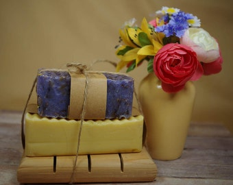 Soap Gift Set-Father's Day Gift Set- Natural Soap and Soap Dish