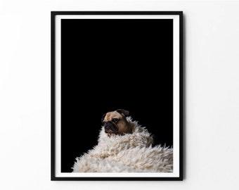 Pug, Pug Poster, Pug Print, Pug Art, Pug Wall Art, Dog Poster, Pug Art Print, Pug Photography, Pug Photo, Pug Gift, Pug Decor, Printable Art