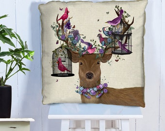 Bird pillow cover - Deer Pillow Bird Cage - stag decor deer cushion cover pink purple colorful pillow colorful cushion Woodland Animal print