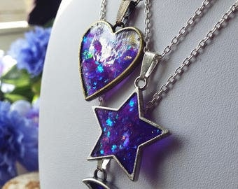 Purple Fantasy Crystal Heart Resin Necklace