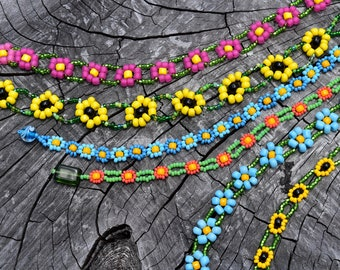 SALE Beaded Daisy Chain Bracelets in Choice of Size and Color, Daisy Chain Bracelet in Pink Blue or Yellow Color Combinations, Free Shipping