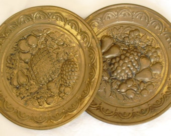 vintage brass wall plates decorative wall hangings 2 vintage brass plates mid century - Decorative Wall Plates