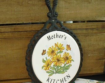 Vintage Cast Iron Trivet, Mother's Kitchen, Floral, Brown Eyed Susan, Butterfly, Round Trivet, Pot Pan Holder, Hot Pot Rest, Gift for Mother