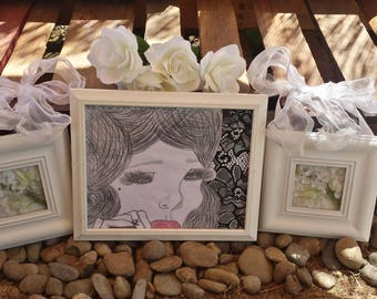 Framed vintage style drawing/Wall Decor/home decor/artwork/drawings/gifts for her/handmade gift/gift/framed artwork