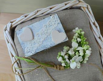 Rustic wedding ring box, engagement proposal ring box, ring holder bearer box, personalised box, heart lace wood jewelry box, wedding gift