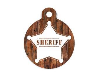Sheriff Badge Pet Id Tag, Sheriff Dog Tag, New Sheriff In Town Pet Id Tag, Sheriff Collar Tag for Pets, Custom Dog Tag with Sheriff Badge