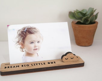 Photo Stand – Dream Big Little One - Photo Holder, Memory Holder, Quote Display, made from Bamboo