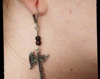 Beautiful Gothic Medieval Elegant Battleaxe Earrings full closure clasps