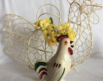 "Vintage Shawnee pottery rooster figurine novelty salter or pepper shaker Chanticleer 5"""