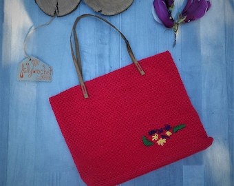 red crochet handbag with leather straps, tote bag,  summer beach bag,  small tote bag leather handles magnetic closure cotton lining