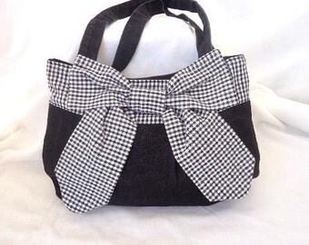 Black denim bag/ pocketbook/ small tote bag/ shoulder bag/ Handmade bag/ Fabric bag/ handbag/ OOAK bag/  cute bag/ Woman gift/ Girl gift/