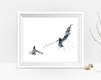Final Fantasy Art Print Watercolor Final Fantasy Art FF7 Poster Cloud Strife Sephiroth Gift Idea Games Wall Art instant Digital Download