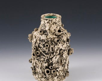 Bud flower vase, coastal vase, coastal decor, ocean vase, barnacle vase, ceramic vase, pirate vase, bud vase, pottery vase, ocean decor