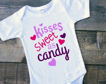 Kisses sweet as candy baby girl bodysuit toddler tshirt