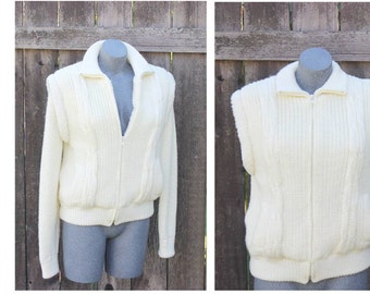 Womens Vintage Rochelle Sweater Jacket Vest, Detachable Sleeves Sweater, Knit Sweater, Ivory, Size Medium