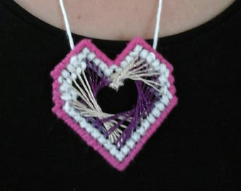 Heart shaped pendant // plastic canvas pink pendant // cross stitched necklace // handmade embroidered necklace // needle point gift for her