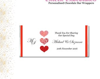 Vertical Red Hearts Printable Chocolate Bar Wrapper. Wedding, engagement, birthday. Digital Download.
