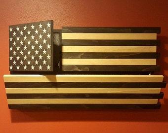 Gun Concealment Cabinet, Black/White American Flag, DUAL LOCKING DOORS! Stained Patriotic Art!