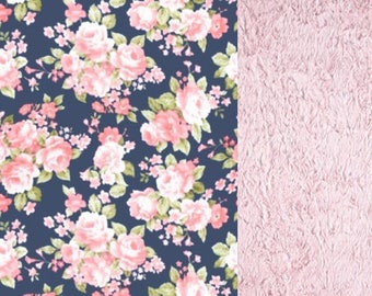 Floral Minky Baby Blanket - Roses - Navy and Blush Pink - Flowers - Baby Shower Gift