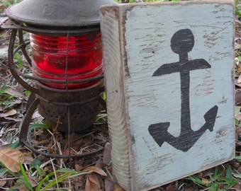 Nautical Anchor Reclaimed Wood Block Shelf Sitter Rustic Decor Beach House Ocean