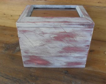 Vintage Distressed Trinket Keepsake Box Shabby Weathered Primitive Cottage Decor