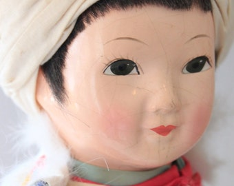 Large Vintage Chinese Doll in Traditional Dress with Cape