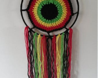 handmade crochet rasta dream catcher.